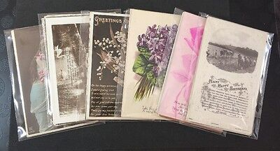 Vintage Postcards: 10 Birthday Greeting Cards Multi Pack Job Lot