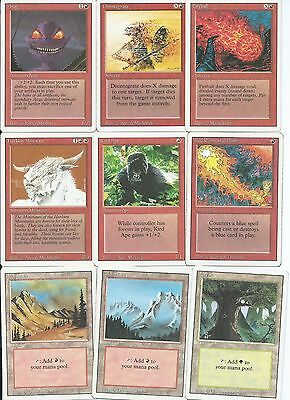 Magic the Gathering Revised Edition common red and land pack 4