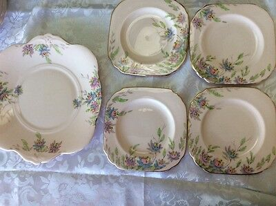 Tuscan Fine Bone China, Pale Pink, Tea Cake plate and 4 x plates  1950's