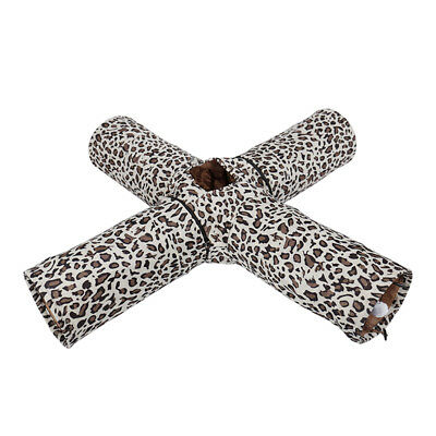 Cat Tunnel Design Collapsible 4-Way Toys Leopard Rabbit Tunnel With Crinkle Toys