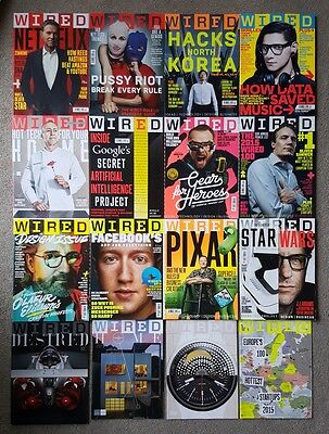 12 Wired Technology Magazines Feb 15 - Jan 16 And 4 Supplements - Bundle Job Lot