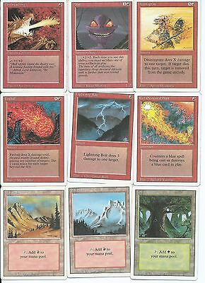 Magic the Gathering Revised Edition common red and land pack 5