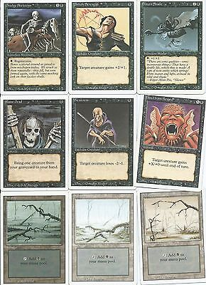 Magic the Gathering Revised Edition common black and land pack 1