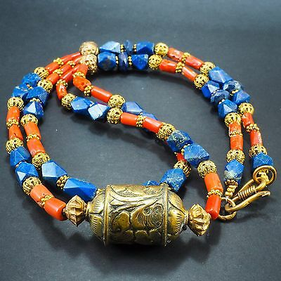 Impressive Ancient Lapis Old Red Coral Bead Double Layer Egyptian Style Necklace