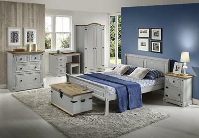 Corona Waxed Pine and Grey Drawer Chest Bedside Wardrobe Dresser Stool