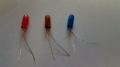 3 x 12v 5mm blue amber & red bulbs not LED-Triang Minic Motorways Choose colour