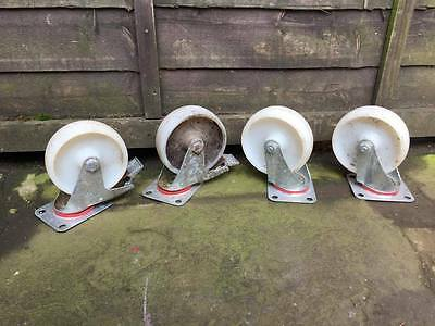 Industrial White Universal Casters Coaster Wheels Heavy Duty 500kg+ Used