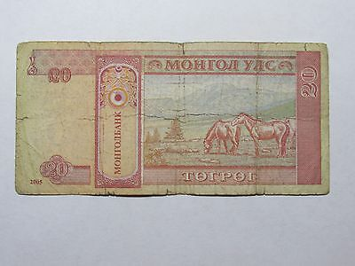 Mongolia Paper Money Currency - #63c 2005 20 Togrog Horses - Well Circulated