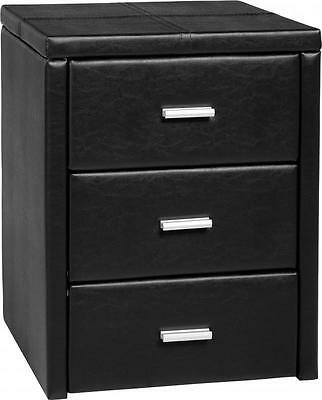 Prado 3 Drawer Bedside Chest in Black PU Leather - Free Delivery