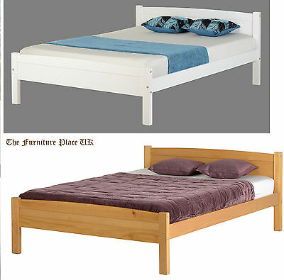 AMBER BED 4ft6 DOUBLE BED FRAME IN WHITE OR ANTIQUE PINE