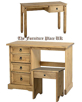 Corona Waxed Pine Mexican Style 4  or 1 Drawer Dressing Table Stool Dresser Desk