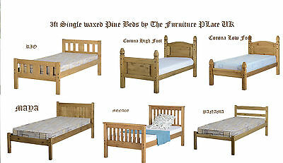 3Ft Single Bed Frames Solid Waxed Pine Low And High End