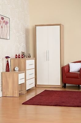 Seville Oak and white effect 1 Drawer Bedside Cabinet  3 Chest or  2 Door Robe