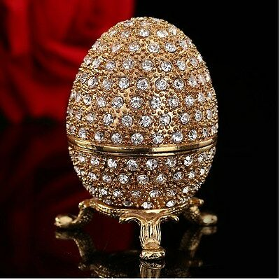 Metal Gold Stone Easter Egg and Faberge Egg Crafts Ornaments