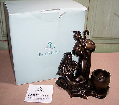 Partylite Holy Night Bronze Color Tea Light Holder Mary-Joseph Baby Jesus w/Box