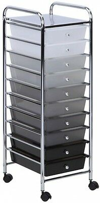 Craft Storage Cart 10 Drawer Shaded Organizer Casters Chrome Top Gray Black