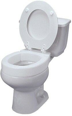 3 in. Elevated Toilet Seat White Elongated Hinged Easy Install Easy-to-Clean