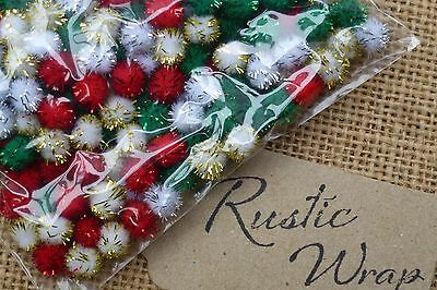 Christmas Pom Poms Tinsel Glitter  mixed pack (Red Gold Green White) Craft Cards