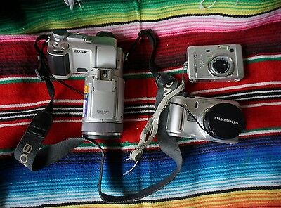 lot of 3 digital cameras for parts (Sony, Olympus, Pentax)