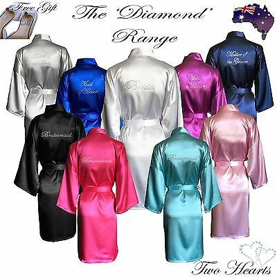 HIGH QUALITY Bridal Robes in Packs-Satin Wedding Dressing Gown Diamante Bride