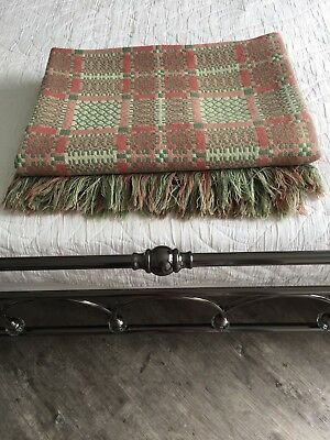 Stunning King Size  Antique Welsh Blanket Tapestry pink and green Reversible