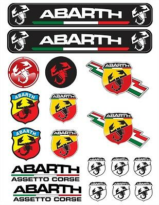 Abarth Tuning Decals Sticker 1 Set-18 Piece  Full color HD