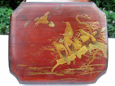 Vintage Japanese Oriental Lacquered Box, Decorated With Birds And Foliage