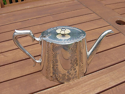 Engraved Decorative Victorian Silver Plate Teapot Cooper Brothers Sheffield
