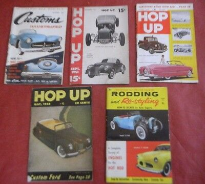 Lot of Vintage 1950s  5 total Hot Rod Magazines