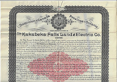 CANADA 1891 Kakabeka Falls Land & Electric Co Bond Stock Certificate Ontario #20
