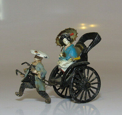 Antique Miniature Chinese  Wrought Iron Rickshaw with Geisha Umbrella Polychrome