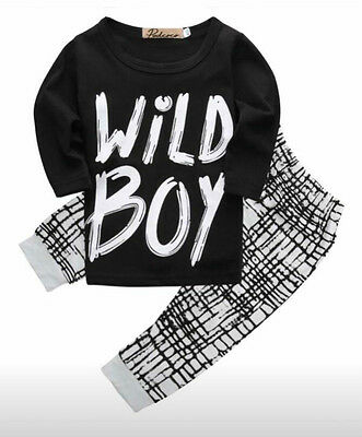boys wild boy black and white outfit top + trousers 3-6 6-9 9-12 12-18 months