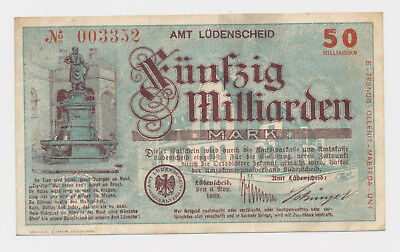 LÜDENDCHEID  50 Milliarden Mark  6. November 1923  WZ dunkle kreuze Notgeld  (99