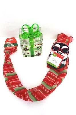 Christmas Gift Set Socks and Scarf Inside Plastic Gift Box Magnetic Lid Holiday