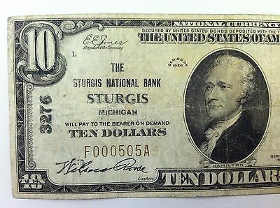 1929 $10 STURGIS National Bank Note Bill Michigan MI