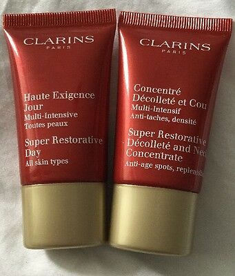 CLARINS SUPER RESTORATIVE DAY AND NECK CREAMS 15 ml EACH BN AND SEALED