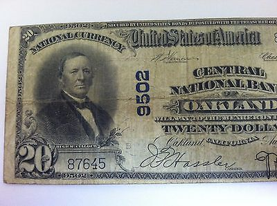 1902 $20 OAKLAND National Bank Note Bill California CA