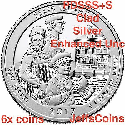 2017 PDSSSS Ellis Island Quarters Clad & 90% Silver Proof + 225th Enhanced Unc S