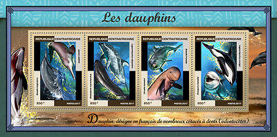 Central African Republic 2017 MNH Dolphins 4v M/S Marine Animals Mammals Stamps