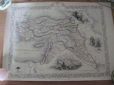 Antique Tallis map of Turkey in Asia