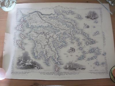 Antique Tallis map of Greece and the Ionian Isles