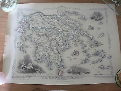 Antique original Tallis map of Greece and the Ionian Isles