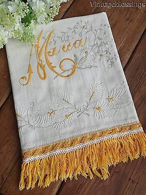 "Beautiful Embroidery! ANTIQUE Show Huck Towel ""Maria"" Daisies  60"""