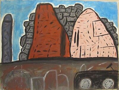 Vintage Abstract Canvas Signed Philip Guston, Modern Old 20th Century Art