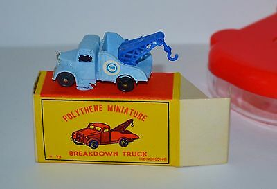 VTG 1960s Polythene Miniature Breakdown Truck Wrecker Pure Lt Blue MIB NOS