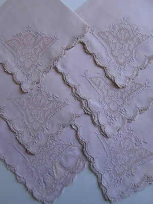 ITALIAN MOSAIC PINK PUNCHWORK NAPKINS 6 Lace Linen Hand Embroidered Antique Vtg
