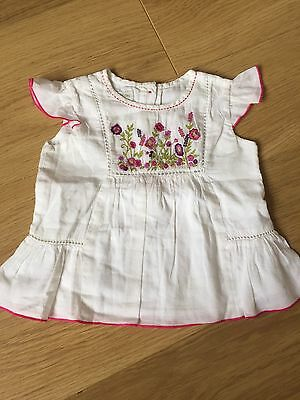 Monsoon White Embroidered Summer Tunic Top Size 6-12 M Baby Girl 9