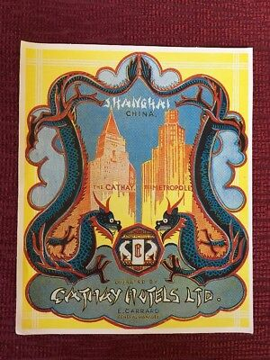 Repro of Vintage Luggage Sticker Label Tag Cathay Hotels Shanghai China