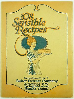 1921 - 108 SENSIBLE RECIPES compliments of BAKER EXTRACT company Springfield MA