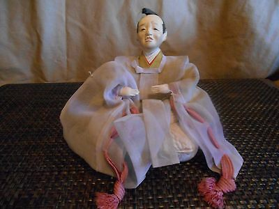 """Japanese Hina Doll -Male- Wise Man-Vintage 5 1/2"""" Collectible From Japan 1950's"""